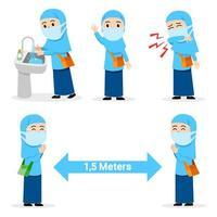 vorbeugender Grippeakt, der von einer muslimischen Studentin verbreitet wird vektor