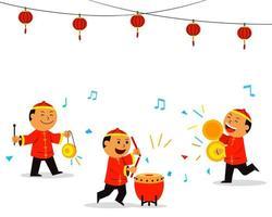 kinesiska barn som spelar musik för drakedans vektor