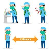 Junge muslimische Student vermeidet die Ausbreitung von Grippeerkrankungen vektor