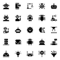 artificiell intelligens och robotik glyph ikoner vektor
