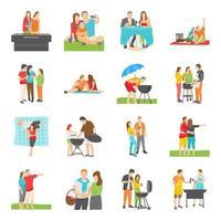 picknick människor platta ikoner vektor