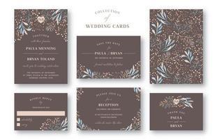 samling av bröllopsinbjudan vektor