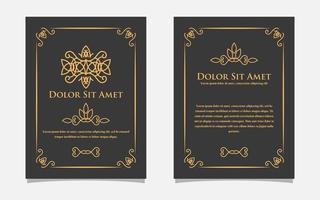 Vintage Goldgrußkartenentwurf mit einem schwarzen Hintergrund. Luxus Gold Ornament Vorlage. für Einladung, Menü, Tapete, Broschüre, Dekoration. vektor