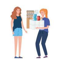 kvinnor som hamnar matvaror