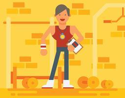Stilvolle Fitnesstrainer-Illustration