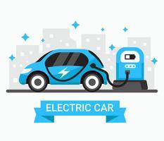 Blå elektrisk bil vektor