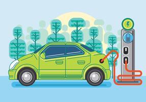Aufladung des Elektroautos. Vektor-flache Design-Illustration