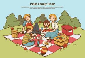 1950-talet Familj Picnic vektor