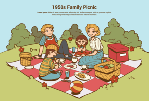 50er Jahre Familienpicknick vektor