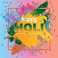 Glückliches Holi auf abstrakter bunter Spritzen-Hintergrund-Illustration vektor