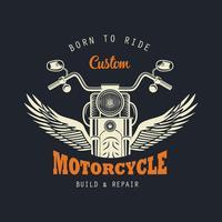 Weinlese-Motorrad-Emblem