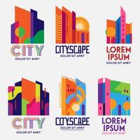 city scape logosuppsättning vektor