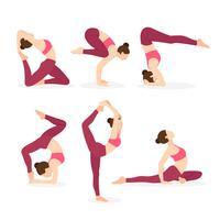 Yogalehrer, der verschiedene Yoga-Haltungen ausübt vektor
