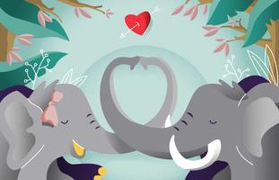 Elefant I Kärlek Romantik Bakgrund Vektor Illustration