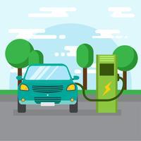 Freie Elektroauto-Aufladungsvektor-Illustration