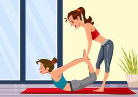 Yoga-Lehrer-Berühren vektor