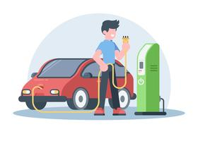 Junger Mann, der sein elektrisches Auto auflädt