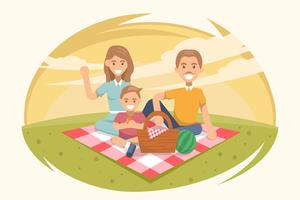 Fünfzigerjahre Familien-Picknick-Vektoren