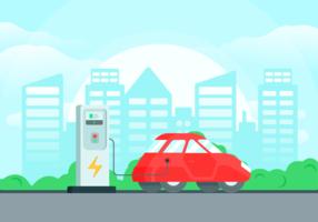 Elektroauto, das Illustration auflädt