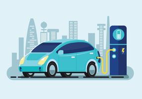Flache Vektor-Illustration eines blauen Elektroautos, das an der Ladegerät-Station auflädt