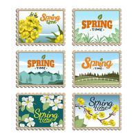 Springtime Porto Frimärken Vector Collection