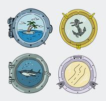 Ship Window Collection Handdragen Vector Illustration