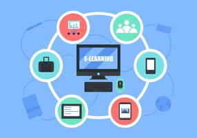 E-Learning-Vektor-Hintergrund-Illustration