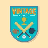 Flacher Weinlese-Baseball-Ausweis-Vektor