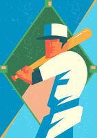 Weinlese-Baseball-Illustration