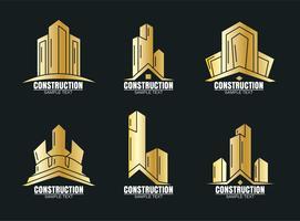 Goldener Aufbau-Logo-Vektor vektor