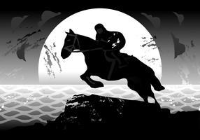 Häst och Rider Siluetas Vektorillustration