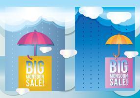 Monsoon försäljning säsongaffisch vektor