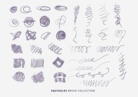 Naturliga Squiggles Borstar Hand Drawn Collection Vector