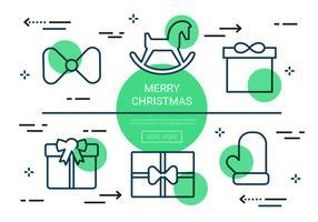 Freie lineare Weihnachtsvektorikonen vektor