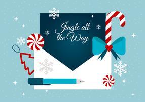 Gratis Flat Design Vector Holiday Greeting Card