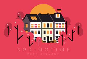 Frühjahr Bonn Deutschland Postkarte vektor
