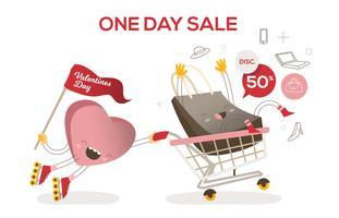 Valentinstag-Verkaufs-Warenkorb-lustige Charakter-Vektor-Illustration vektor