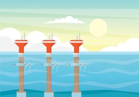 tidvatten energi illustration koncept