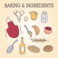 Bakning Ingredienser och redskap Vector
