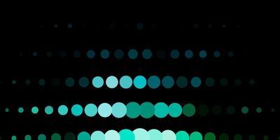 dunkelblauer, grüner Vektorhintergrund mit Punkten.