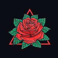 Rose mit Blättern T-Shirt Design vektor