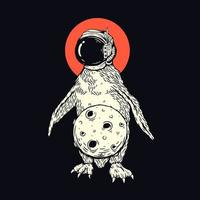 pingvin med måne t-shirt vektor