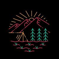 Berglager mit Wald-T-Shirt-Design