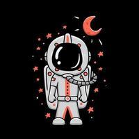 astronaut med röd måne t-shirt design vektor