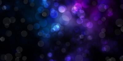 dunkelrosa, blauer Vektorhintergrund mit Flecken.
