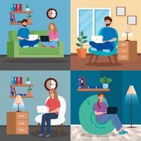 Reihe von Szenen mit jungen Menschen, die zu Hause arbeiten vektor