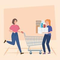 Frauen und Einkaufswagen mit Lebensmittelüberschuss