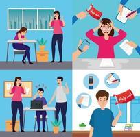 uppsättning scener med människor med stressattack
