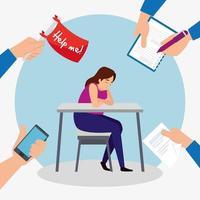 müde Frau am Arbeitsplatz vektor