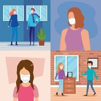 Szenen von Menschen und Kindern mit Gesichtsmasken vektor